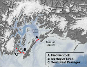 Map depicting the location of the acoustic arrays