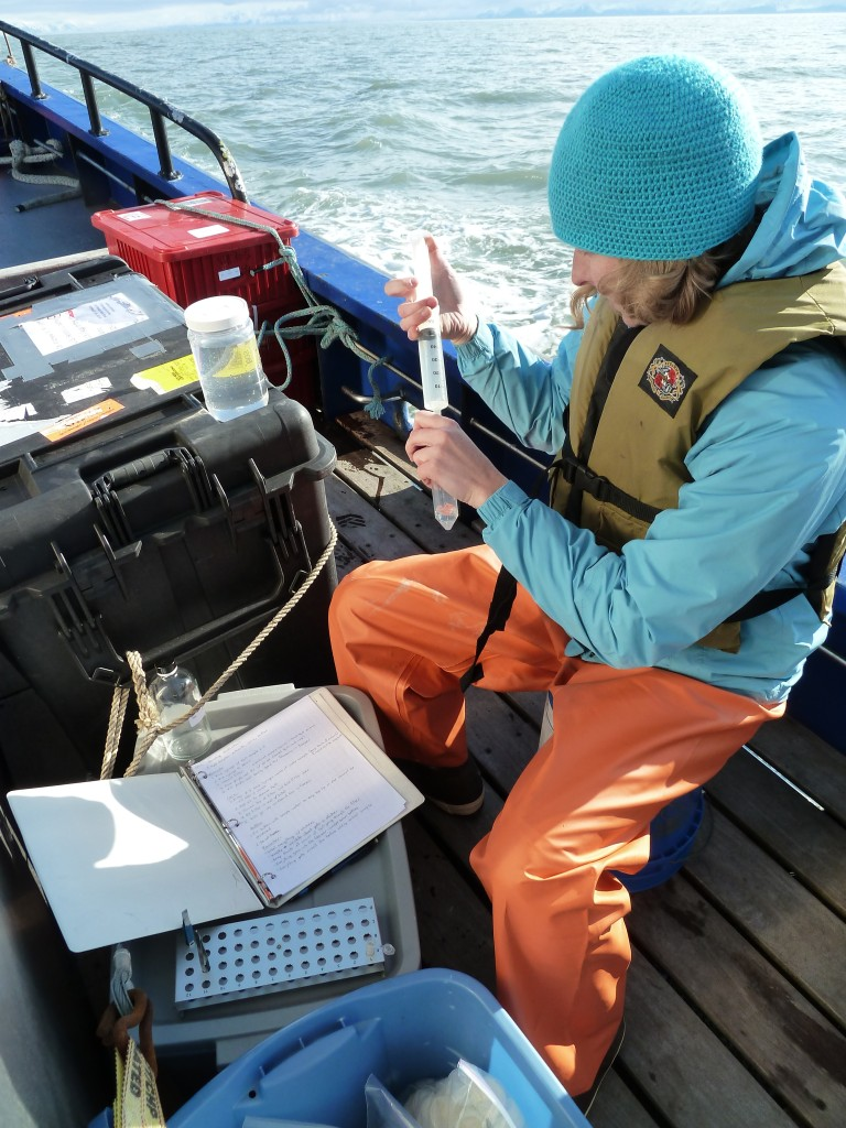 Caitlin collecting a nutrient sample during an oceanography cruise.