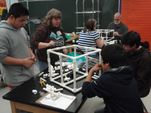 Cara Goodwin assists the St. Paul students building their ROV.