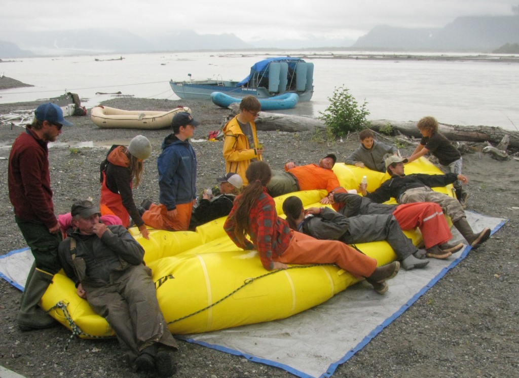 Students deflate rafts after traveling 91 miles down the Copper River as part of the Copper River Stewardship Program. Photo credit: Meadow Scott