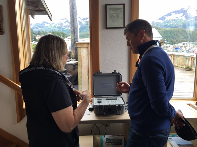 Science Center ecologist, Dr. Mary Anne Bishop, shares information about acoustic devices used in Ocean Tracking Network. Photo credit: Aleesha Towns-Bain