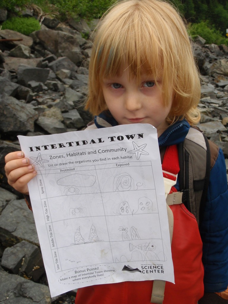 "On the ""'Tidepooling for Tots' event, kids found all kinds of marine creatures and kept track of their discoveries. Photo credit: Meadow Scott"