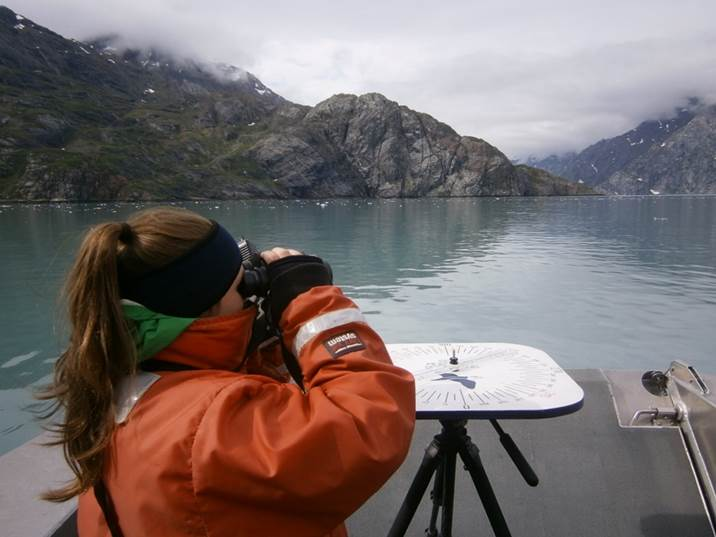 Working as an observer with SEAN scientists, Schaefer keeps her eyes on the water for seabirds in Johns Hopkins Inlet, Glacier Bay National Park and Preserve