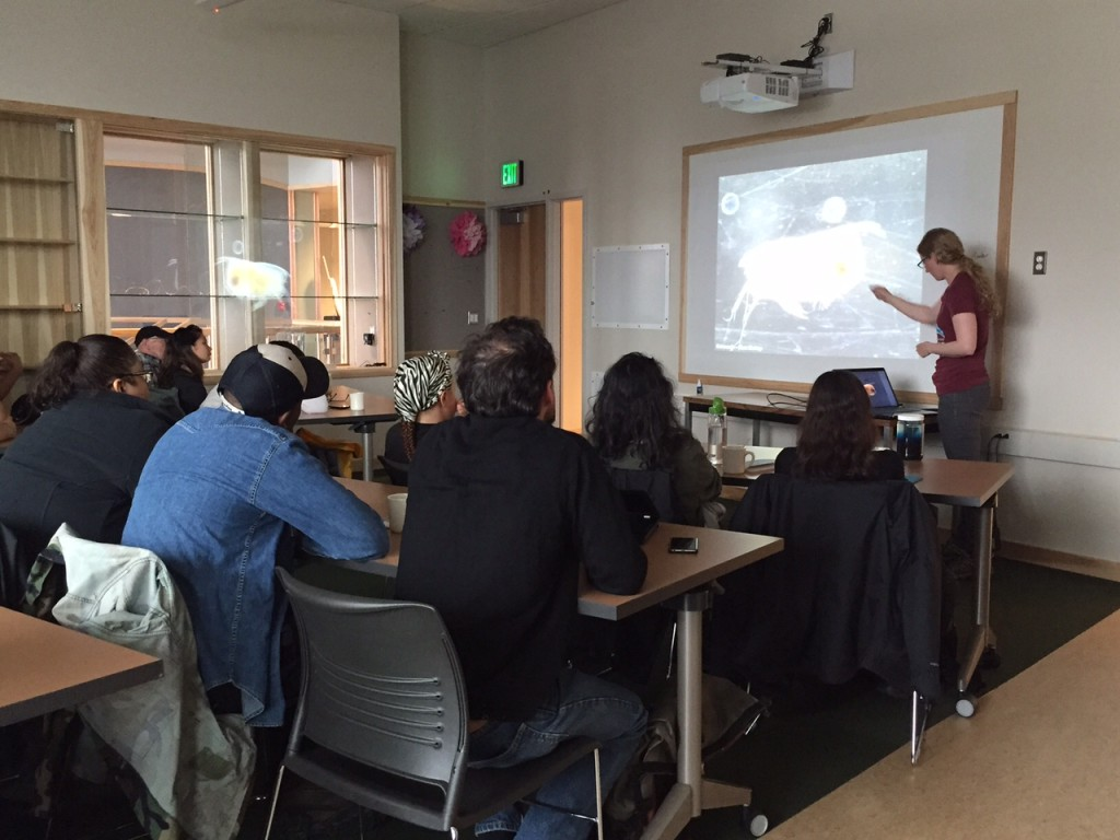 Research assistant, Caitlin McKinstry shares the meticulous techniques behind her plankton photography methods with visiting photography students.